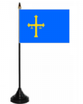Asturias Desk / Table Flag with plastic stand and base.